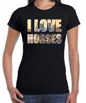 I love horses paarden dieren zwart dames t-shirt