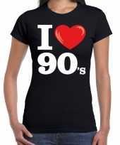 I love s nineties zwart dames t-shirt