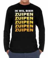 Ik wil bier zuipen zuipen zuipen long sleeve zwart voor t-shirt