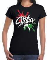 Italia italie spetter zwart dames t-shirt