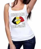 Kiss me i am belgian tanktop mouwloos wit dames t-shirt