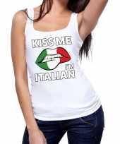 Kiss me i am italian tanktop mouwloos wit dames t-shirt