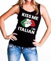 Kiss me i am italian tanktop mouwloos zwart dames t-shirt