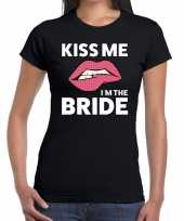Kiss me i am the bride zwart dames t-shirt