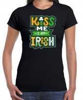Kiss me im irish st patricks day kostuum zwart dames t-shirt