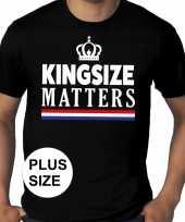 Koningsdag kingsize matters grote maten zwart heren t-shirt