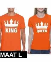 Koningsdag koppel king queen oranje maat l t-shirt