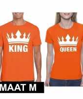 Koningsdag koppel king queen oranje maat m t-shirt