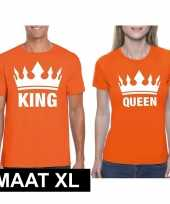 Koningsdag koppel king queen oranje maat xl t-shirt