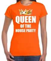 Koningsdag queen of the house party oranje dames t shirt