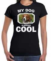 Kooiker honden my dog is serious cool zwart dames t-shirt