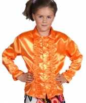 Luxe oranje rouches blouse kinderen t-shirt