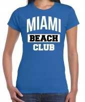 Miami beach club zomer blauw dames t-shirt