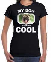 Mopshond honden my dog is serious cool zwart dames t shirt