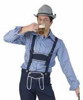 Oktoberfest blauw wit geruit tiroler verkleed overhemd heren t-shirt