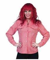 Oktoberfest dames tiroler overhemd rood wit t-shirt