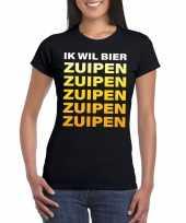Oktoberfest ik wil bier zuipen tekst zwart dames t-shirt