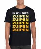 Oktoberfest ik wil bier zuipen tekst zwart heren t-shirt
