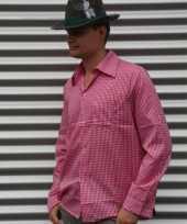 Oktoberfest tiroler blouse roze heren t-shirt