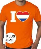 Oranje i love holland grote maten heren t-shirt
