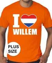 Oranje i love willem grote maten heren t-shirt