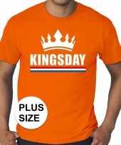 Oranje koningsdag kingsday kroon grote maten heren t-shirt