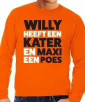 Oranje koningsdag maxi heeft een poes sweater heren t-shirt