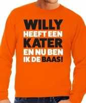 Oranje koningsdag willy heeft een kater sweater heren t-shirt