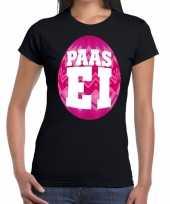Paasei zwart roze ei dames t-shirt
