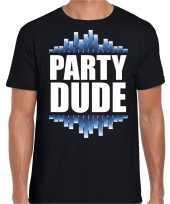 Party dude fun tekst zwart heren t shirt