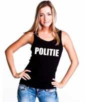 Politie tekst single tanktop zwart dames t-shirt