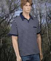 Polo bretonse streep navy t-shirt