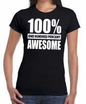 Procent awesome tekst zwart dames t shirt