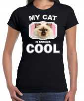Rag doll katten poezen my cat is serious cool zwart dames t shirt