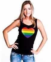 Regenboog vlag hart single tanktop zwart dames t-shirt
