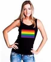 Regenboog vlag single tanktop zwart dames t-shirt