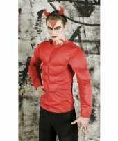Rood duivel spieren t-shirt