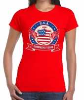 Rood usa drinking team dames t-shirt