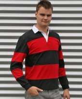 Rugby zwart rood t-shirt