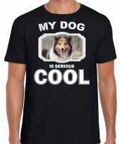 Sheltie honden my dog is serious cool zwart heren t shirt 10246375
