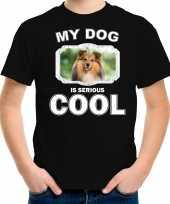 Sheltie honden my dog is serious cool zwart kinderen t shirt 10246469