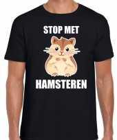 Stop hamsteren zwart heren t-shirt