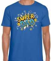 Super dad cadeau papa blauw heren t shirt