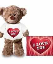 Valentijn valentijnskaart knuffelbeer i love you hartje t-shirt