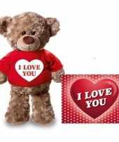 Valentijn valentijnskaart knuffelbeer i love you rood t-shirt