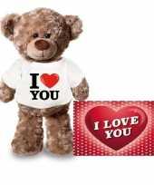 Valentijn valentijnskaart knuffelbeer i love you t-shirt