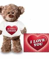 Valentijn valentijnskaart knuffelbeer ik vind je lekker t-shirt
