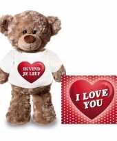Valentijn valentijnskaart knuffelbeer ik vind je lief t-shirt