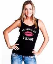 Vrijgezellenfeest team single tanktop zwart dames t-shirt