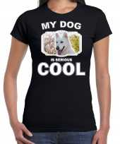 Witte herder honden my dog is serious cool zwart dames t-shirt